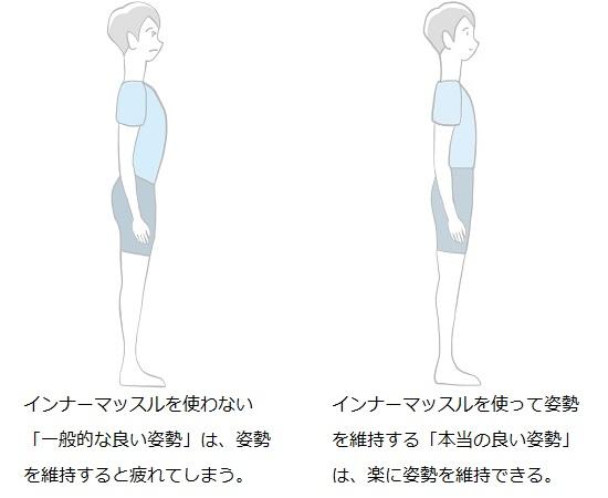 「一般的な良い姿勢」よりも「本当の良い姿勢」の方が楽である様子を描いたイラスト